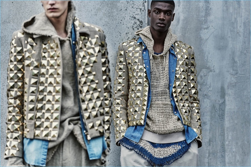 Elias de Poot and Rachide Embalo are chic in Balmain embellished jackets and knitted layers.
