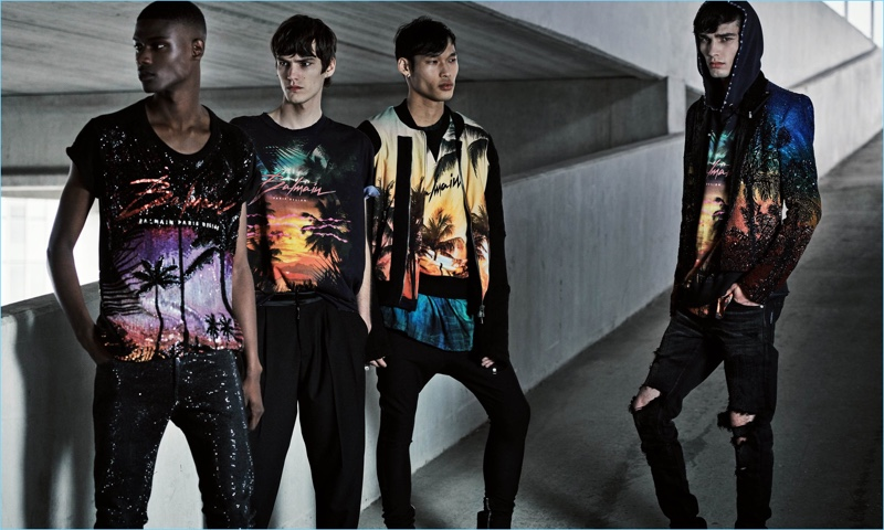 Rachide Embalo, Elias de Poot, Chun Soot, and Oussama Guessoum wear tropical looks with a black spin from Balmain.