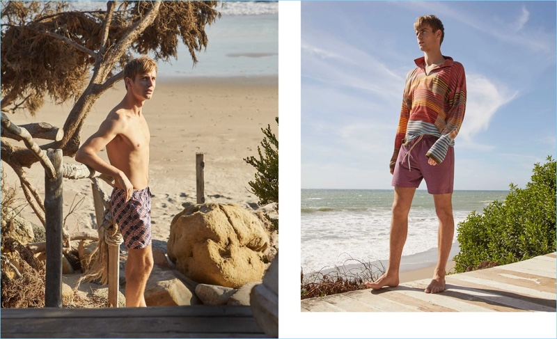 Left: Ben Allen models checked swim shorts by Fendi. Logo checked-print swim shorts by Fendi. Right: He wears a striped sweater by Missoni with Faherty swim shorts.