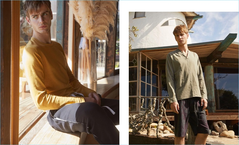 Left: Connecting with Matches Fashion, Ben Allen wears an Altea sweater. Haider Ackermann track pants complete his look. Right: Ben sports a linen-blend shirt and shorts from The Lost Explorer.