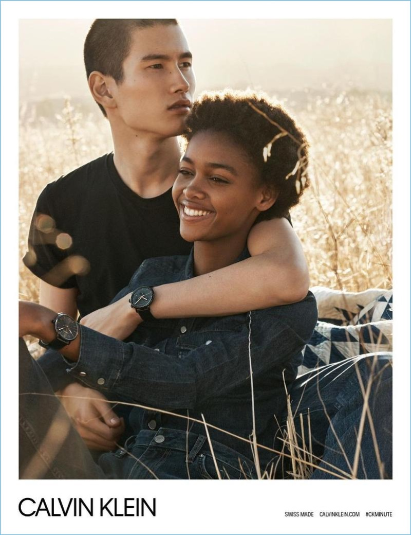 Kohei Takabatake and Blesnya Minher appear in Calvin Klein's spring-summer 2018 watches campaign.