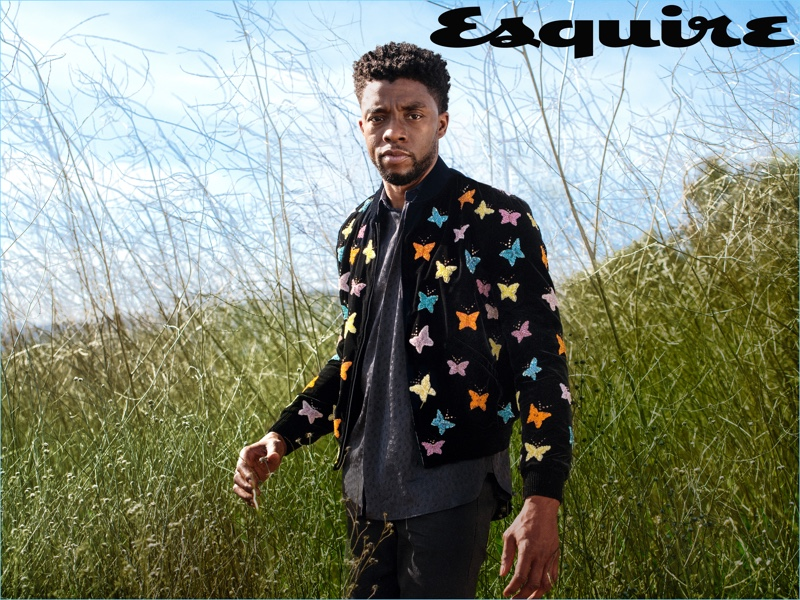 Connecting with Esquire, Chadwick Boseman wears a shirt and jacket by Saint Laurent.