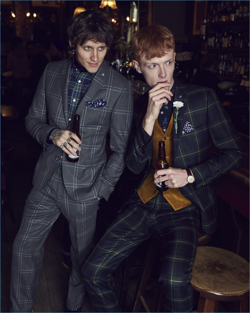 Models Leebo Freeman and Linus Wordemann don sharp suits for Club of Gents' fall-winter 2018 campaign.