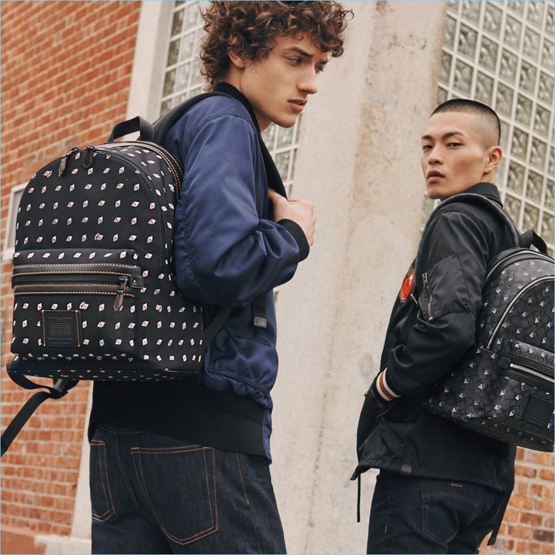 Embrace a life on the move with Coach's Academy backpack that comes in a dot diamond print and one in the brand's signature canvas.