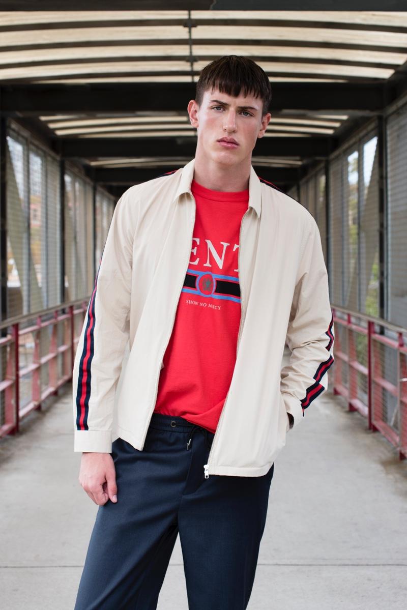 Deakin wears pants Mr. P, t-shirt and jacket Topman.