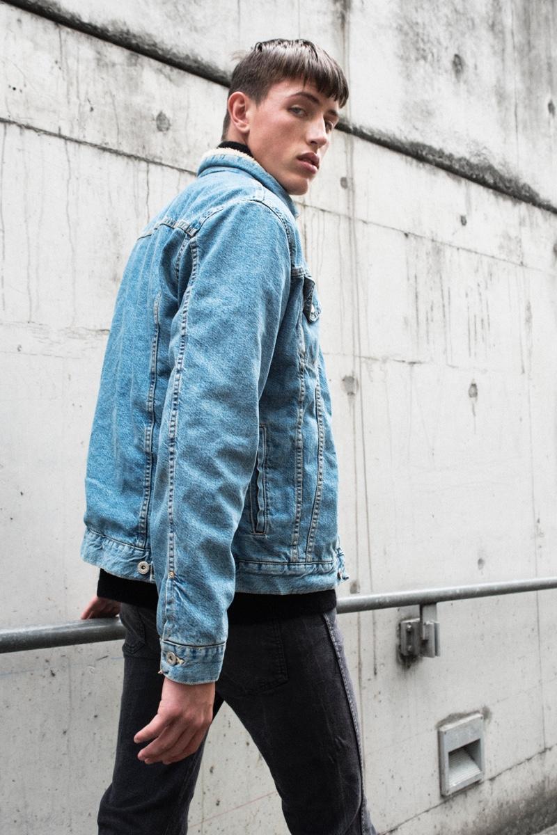 Deakin wears denim jacket Zara and jeans Dr Denim.