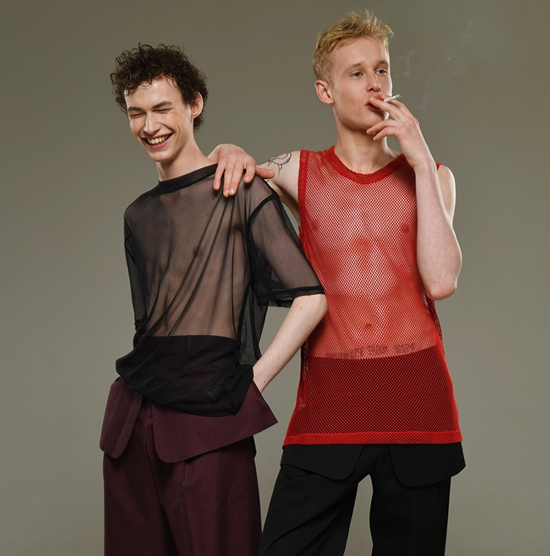 Left to Right: Dmitry wears red mesh top H&M and pants Dior Homme. Dima wears sheer shirt La Perla and pants Dior Homme.