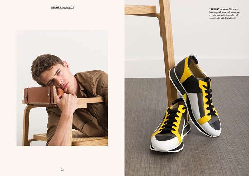 "Left: Dennis Weber photographs Jordy Baan in Hermès. Right: Hermès' ""Rebus"" sneakers."