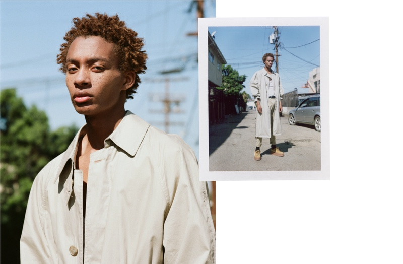 Devin Mingo wears vintage trench Burberry, shoes Fenty by Puma, t-shirt and pants Calvin Klein.