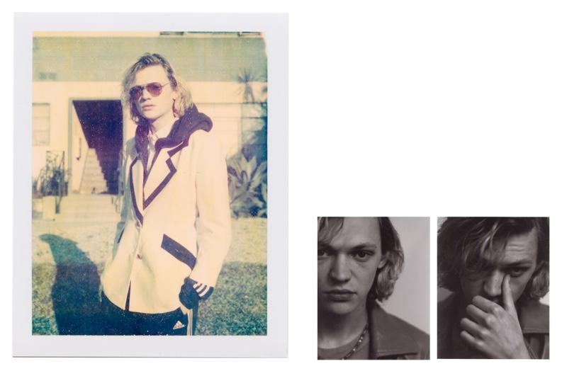 Turner Barbur wears sunglasses Ray-Ban, shirt and blazer Gucci, jacket and pants Adidas.