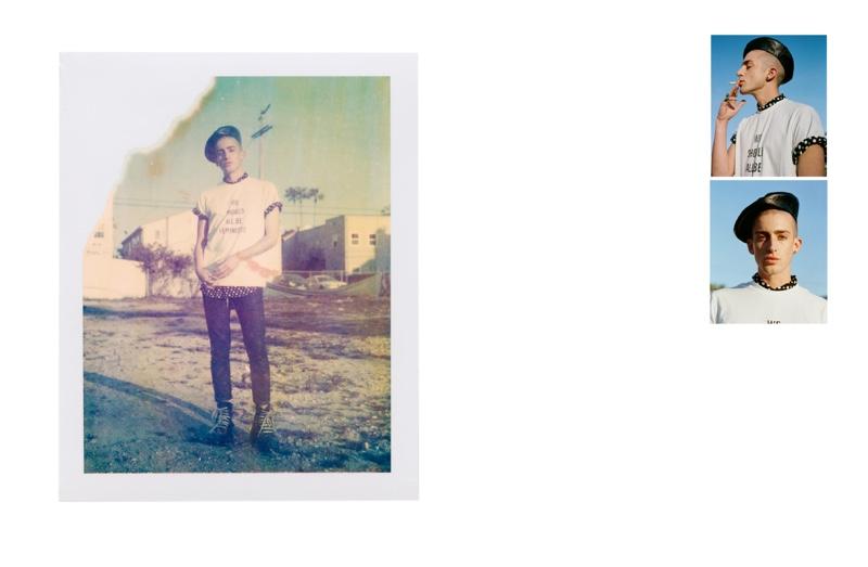 Kris Kidd wears shirt Topman, pants Diesel, shoes Buffalo, t-shirt and beret Dior Homme.