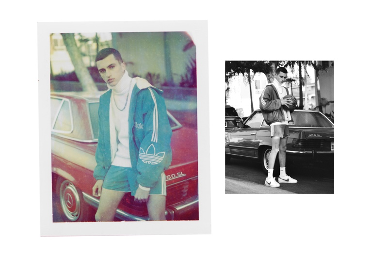 Dyllon Feusi wears top Acne Studios, necklace Mayageller, oversized bomber jacket and shorts Adidas, socks and shoes Nike.