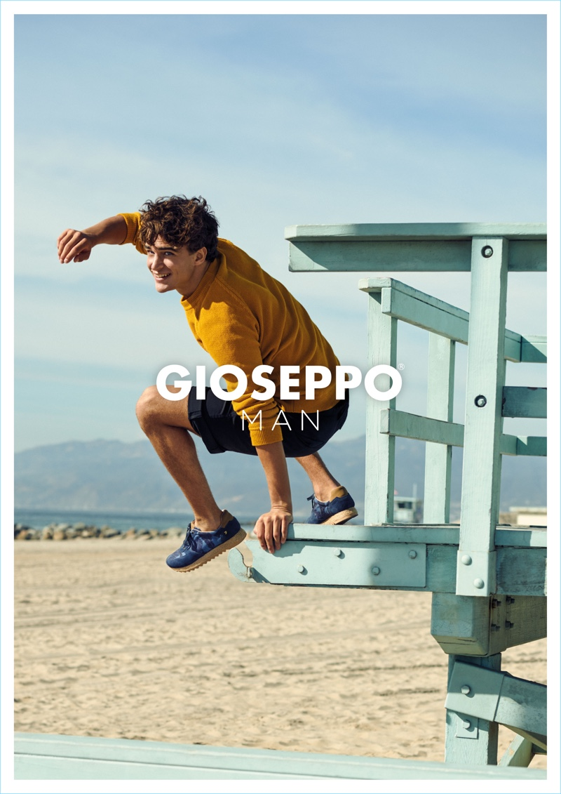 Taking to the beach, Pepe Barroso stars in Gioseppo Man's spring-summer 2018 campaign.