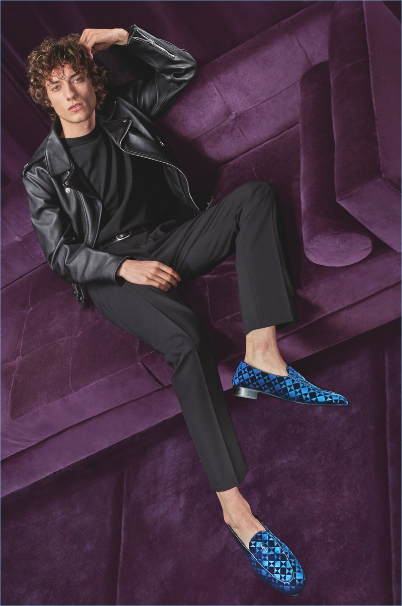 Serge Rigvava dons Giuseppe Zanotti's G-Flash loafers for the brand's fall-winter 2018 campaign.