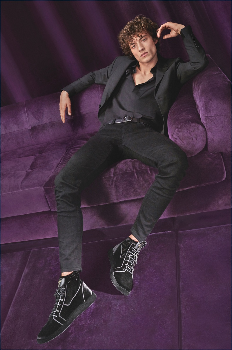 Giuseppe Zanotti enlists Serge Rigvava as the star of its fall-winter 2018 campaign. He sports the label's Light Jump MT1 sneakers.