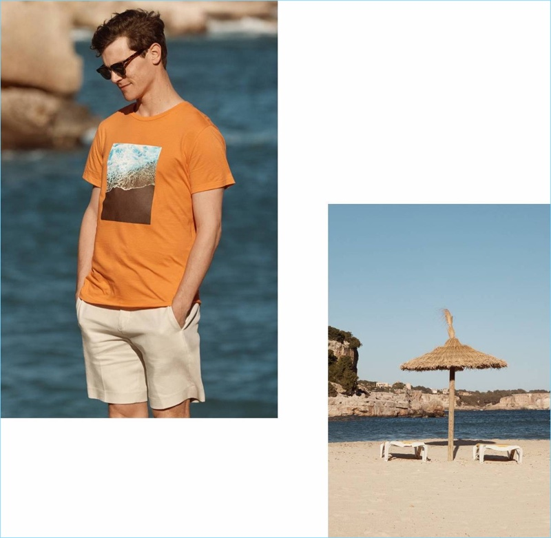 French model Vincent LaCrocq wears H&M's slim-fit city shorts in beige.
