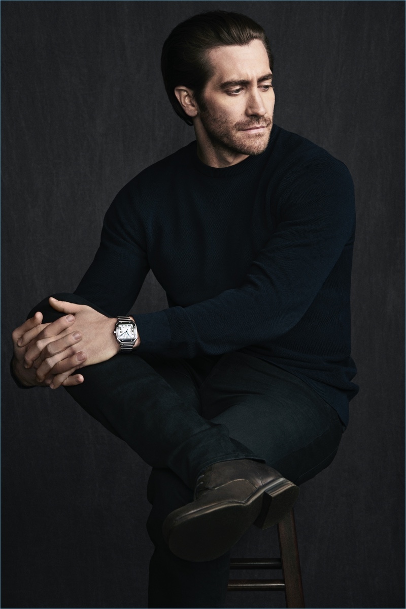 Starring in a new campaign, Jake Gyllenhaal promotes the Santos de Cartier timepiece.
