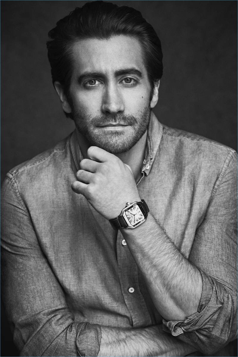 Matthew Brookes photographs Jake Gyllenhaal for a Santos de Cartier campaign.