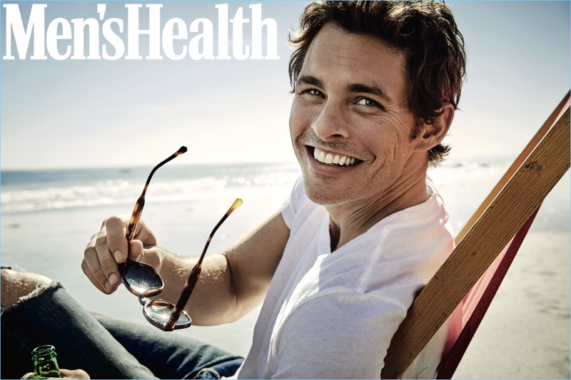 All smiles, James Marsden wears an Alternative Apparel t-shirt with Simon Miller jeans.