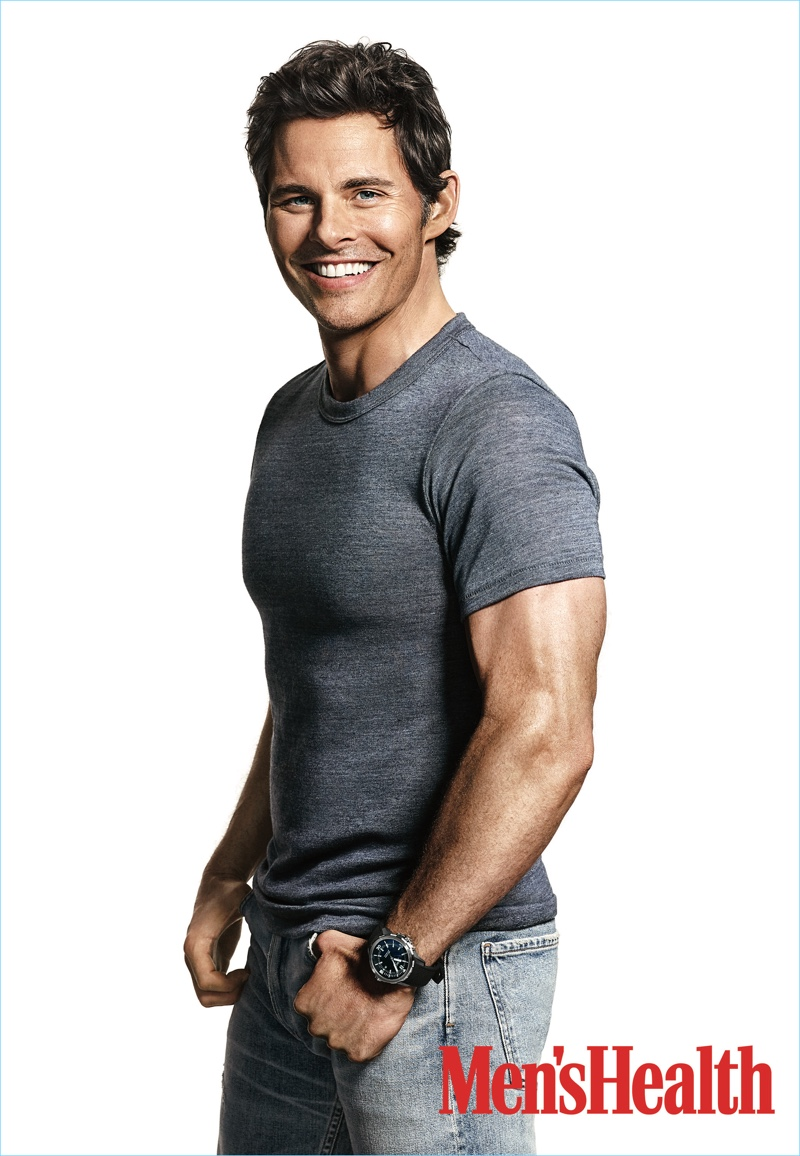Actor James Marsden sports an Alternative Apparel t-shirt with Simon Miller jeans.