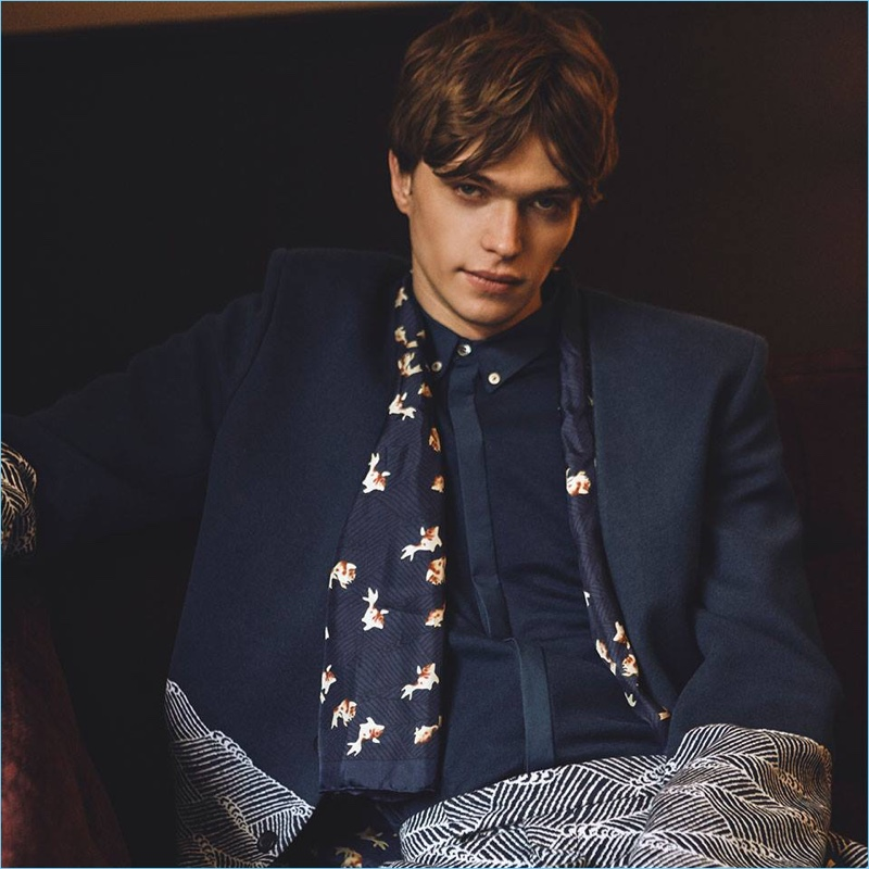 Jake Love wears a knit suit for John Smedley's spring-summer 2018 campaign.