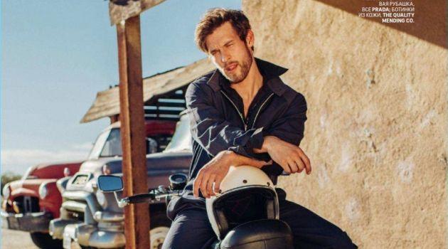 Josh Upshaw Embraces Biker Cool for GQ Russia