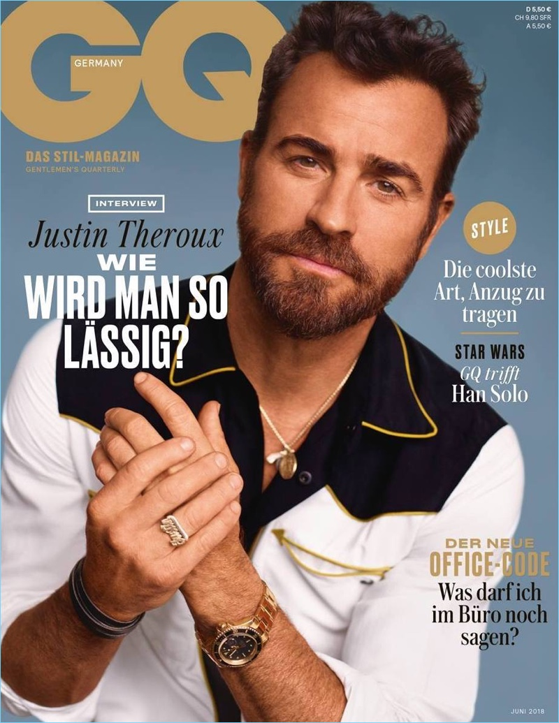 Justin Theroux covers the June 2018 issue of GQ Germany.