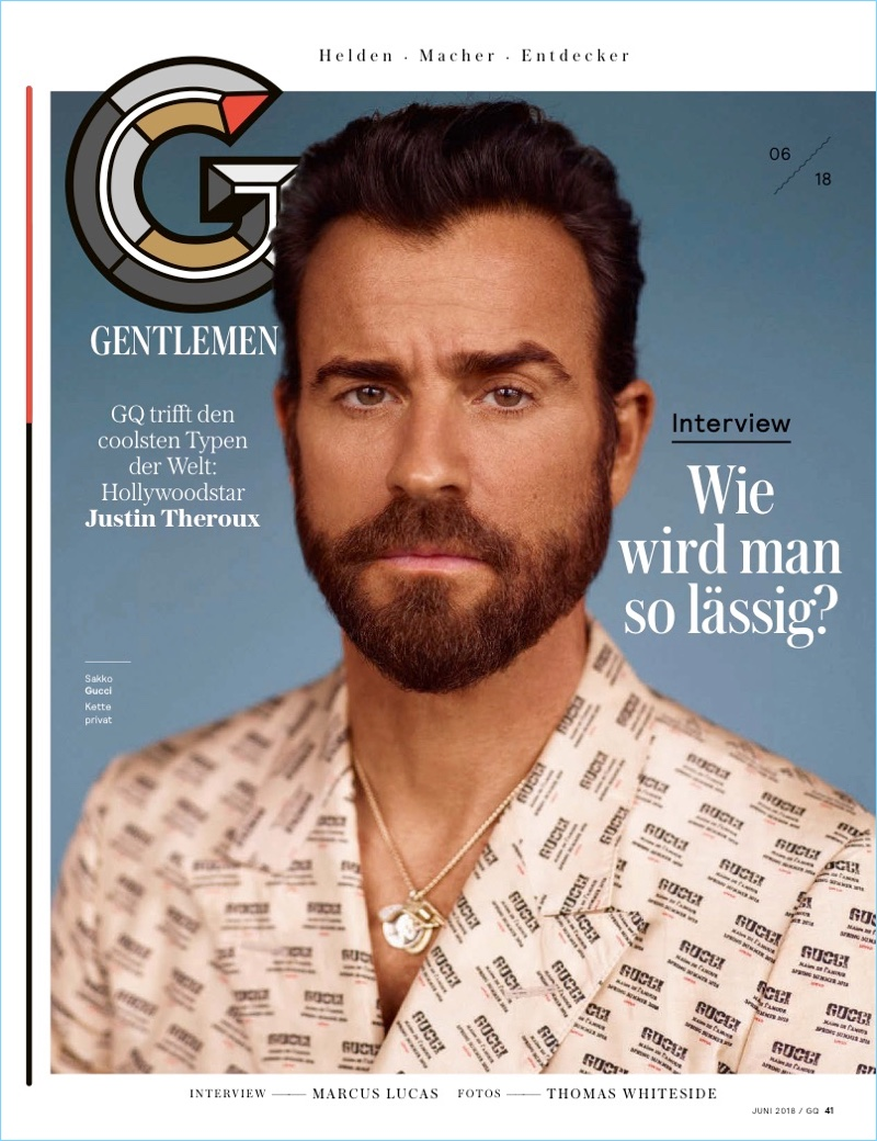 Actor Justin Theroux wears a Gucci print suit.