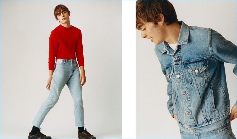 Going casual in denim, Lennon Gallagher connects with AGOLDE.