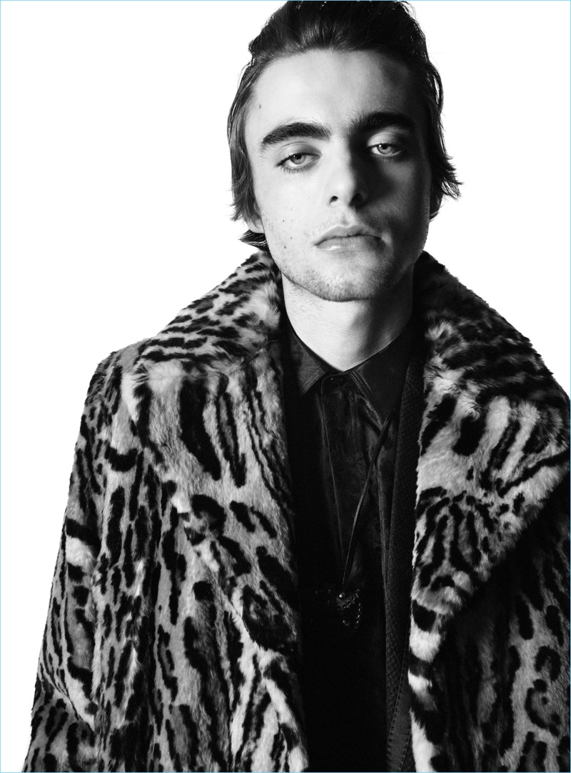 Sporting a leopard jacket, Lennon Gallagher stars in Saint Laurent's fall-winter 2018 campaign.