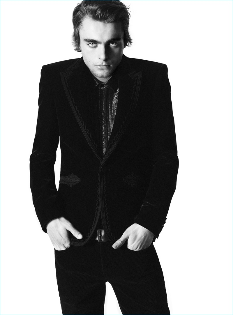 Donning a sharp suit, Lennon Gallagher fronts Saint Laurent's fall-winter 2018 campaign.