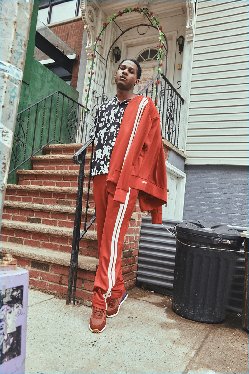 Connecting with Playboy, Leon Bridges rocks a Valentino tracksuit.