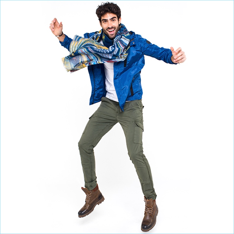 Leaping into motion, Juan Betancourt stars in Macson's spring-summer 2018 campaign.