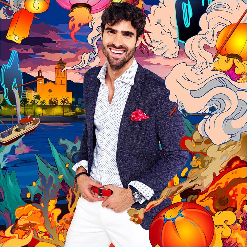 All smiles, Juan Betancourt fronts Macson's spring-summer 2018 campaign.