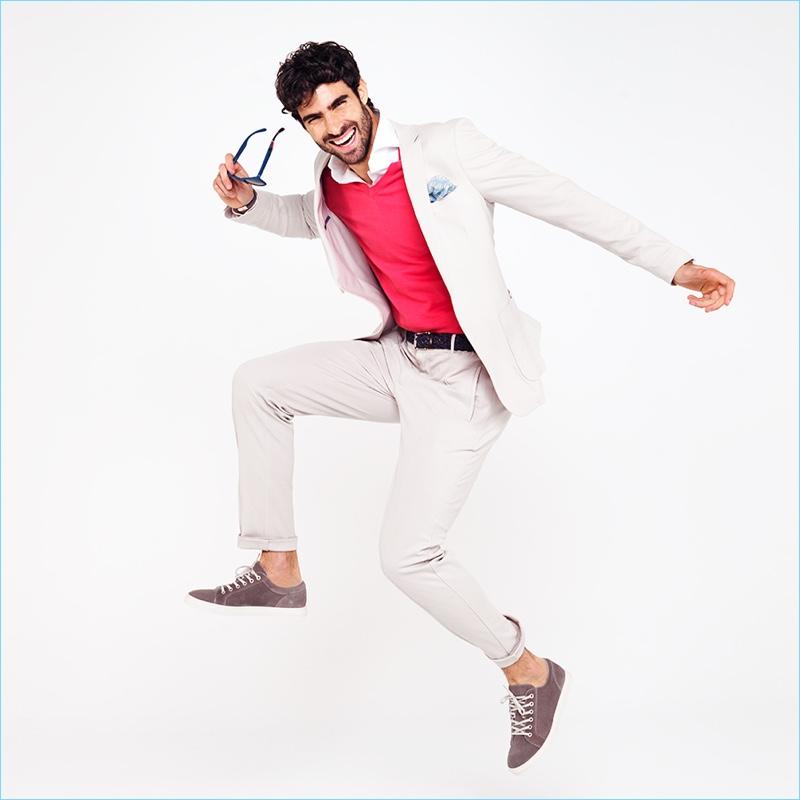 Exuding a joyous energy, Juan Betancourt stars in Macson's spring-summer 2018 campaign.