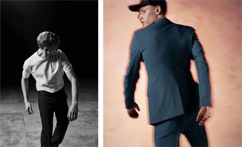 Left: Peter Dupont dons Prada's logo badge cotton t-shirt and straight-leg cotton chino trousers. Right: The model sports a Prada single-breasted cotton blazer, mid-rise straight-leg cotton trousers, and a logo-embroidered baseball cap.