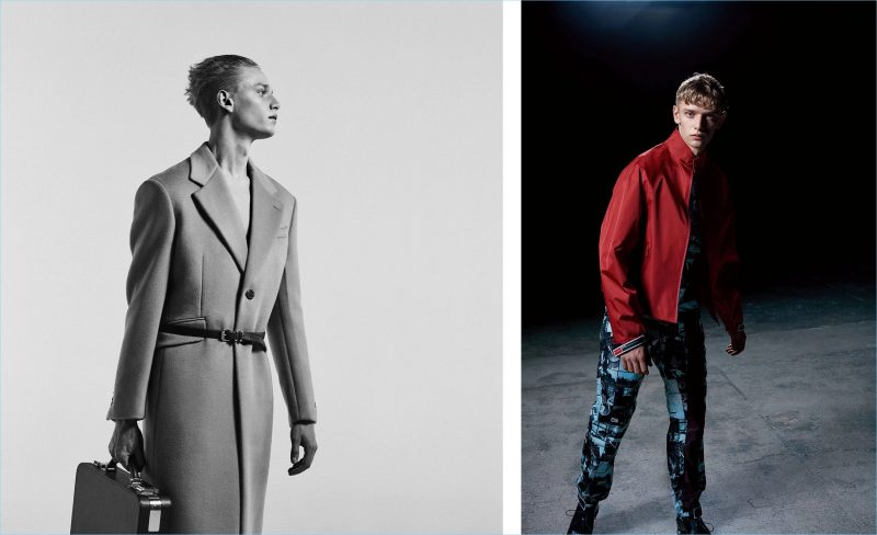 Left: Embracing the classics, Peter Dupont wears a Prada cashmere and wool-blend overcoat. He also dons the brand's skinny leather belt and takes hold of its top-handle Saffiano-leather briefcase. Right: Peter wears Prada's resin-coated technical jacket, contrast-collar comic-print shirt, comic-print patch-detail track pants, and perforated leather derby shoes.