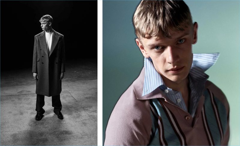 Left: Peter Dupont models a Prada double-breasted wool coat, logo badge cotton t-shirt, straight-leg cotton chino trousers, and lace-up leather derby shoes. Right: He wears the Italian brand's point-collar striped-knit wool polo shirt and graphic-print striped cotton shirt.