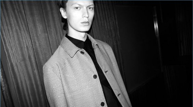 Model Jonas Glöer fronts McQ's spring-summer 2018 campaign.