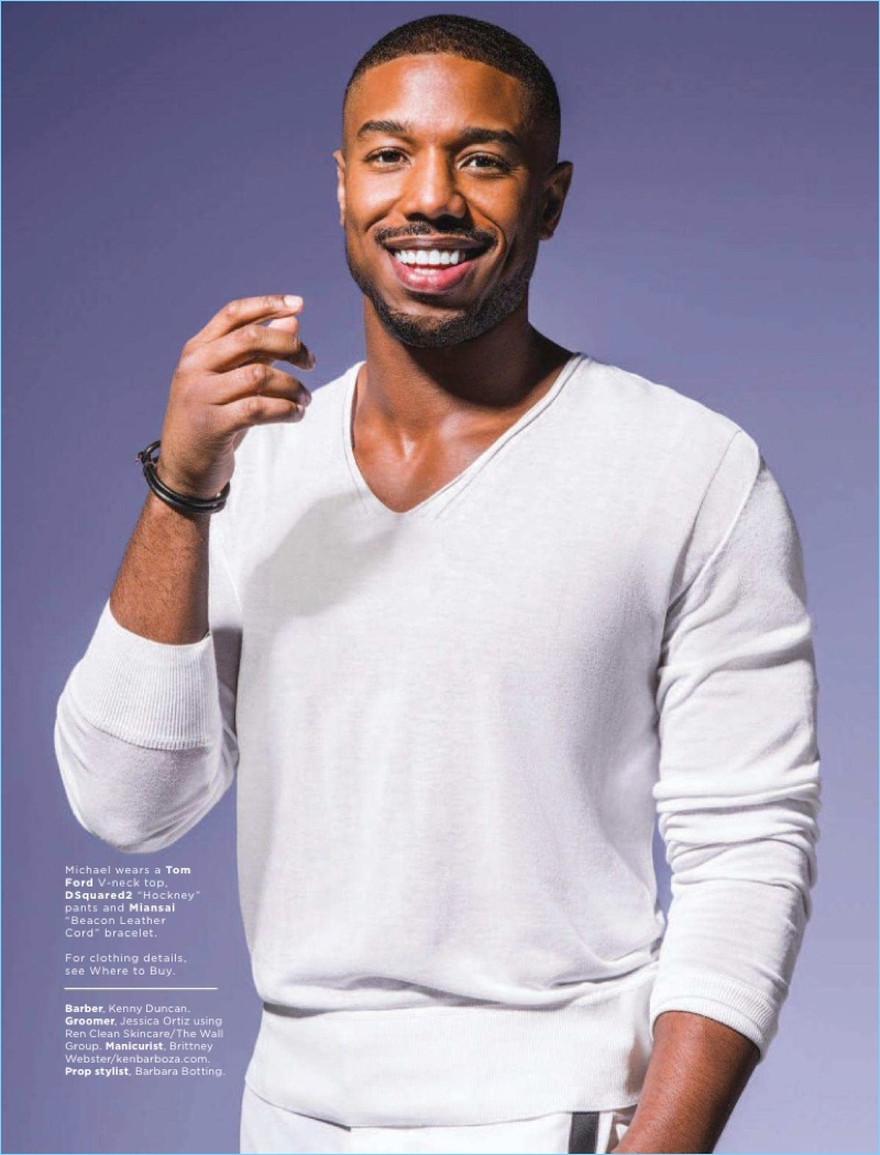 Connecting with Essence magazine, Michael B. Jordan dons a Tom Ford sweater and Dsquared2 pants with a Miansai bracelet.