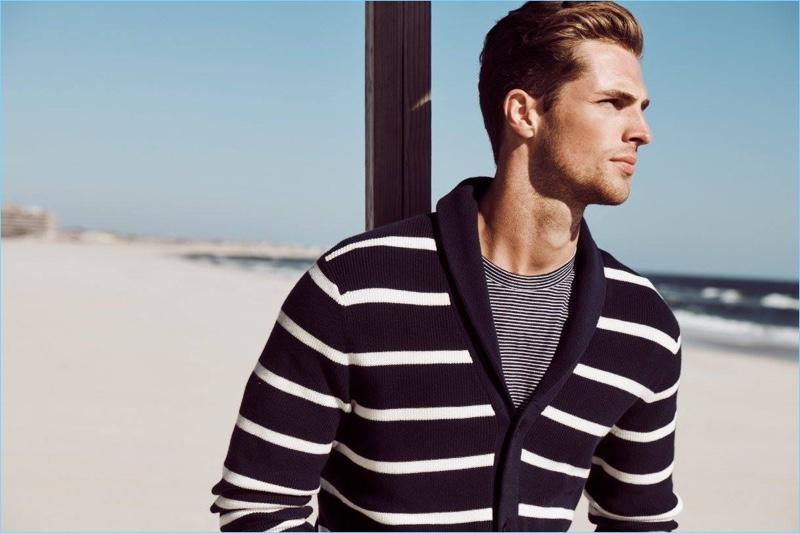 British model Edward Wilding embraces nautical style, courtesy of Nautica.