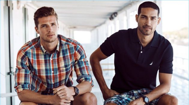 Models Edward Wilding and Daniel Pimentel come together for Nautica's spring-summer 2018 outing.