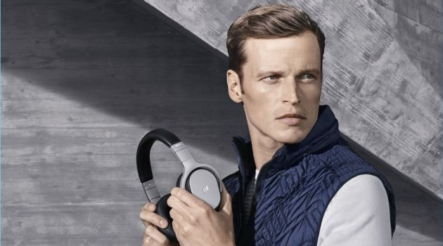 Model Lars Burmeister poses with headphones from Porsche Design.