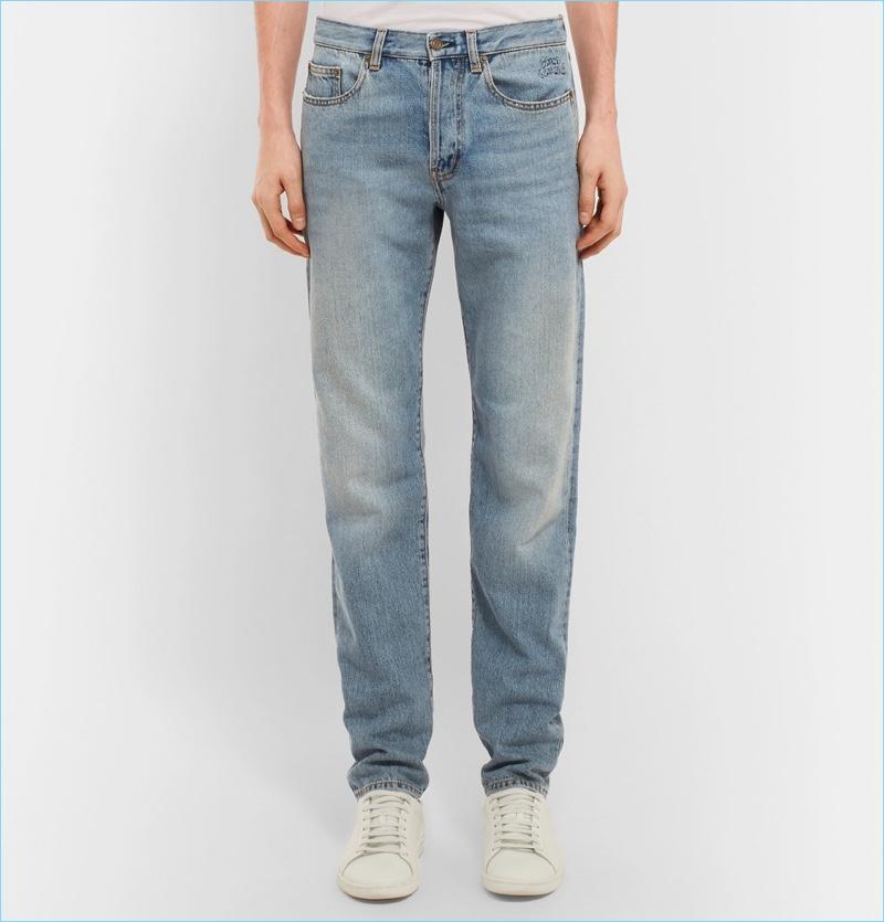 Saint Laurent Slim-Fit 17cm Hem Embroidered Denim Jeans
