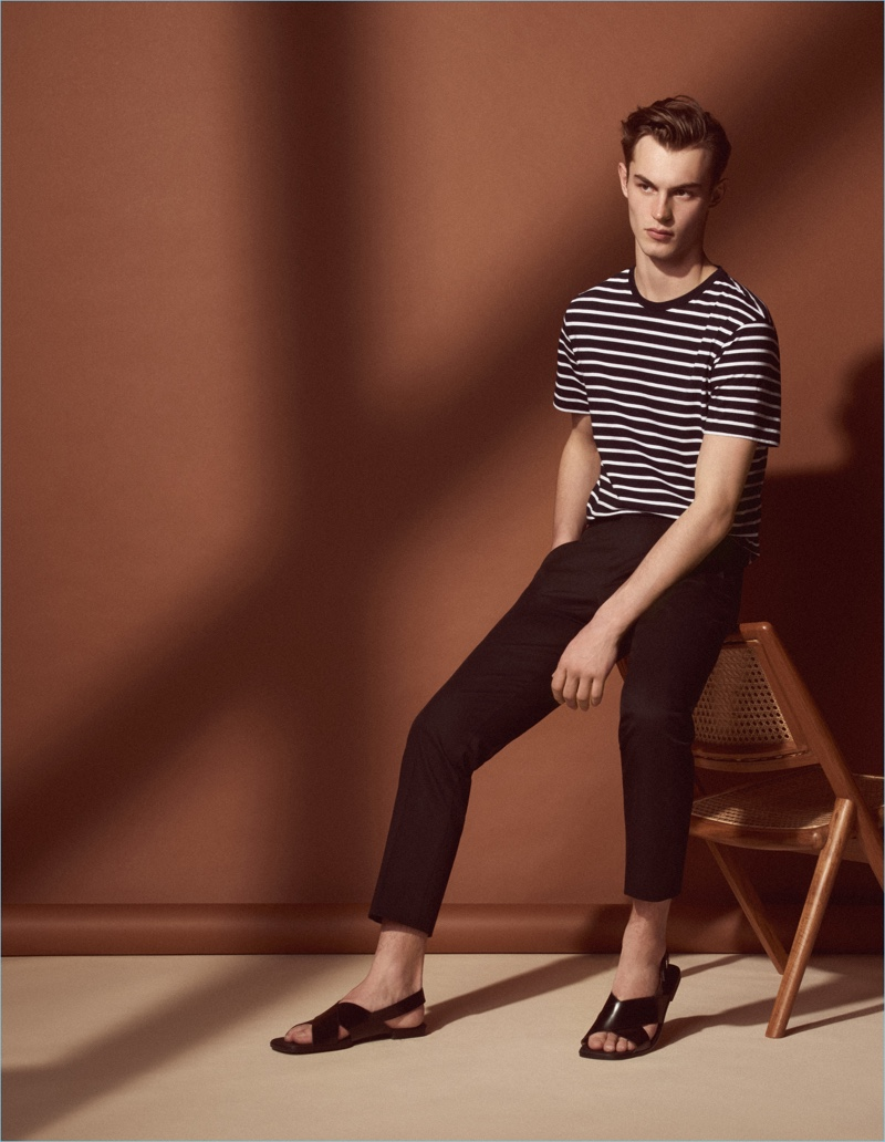 A sleek vision, Kit Butler models fashions from Sandro's Mr Porter collection.