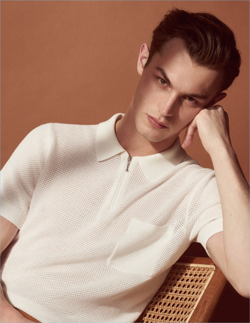 Model Kit Butler stars in the lookbook for Sandro's Mr Porter collaboration.
