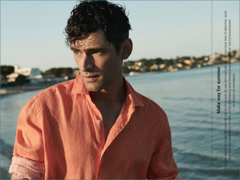 Sporting a linen shirt, Sean O'Pry connects with Massimo Dutti for summer.
