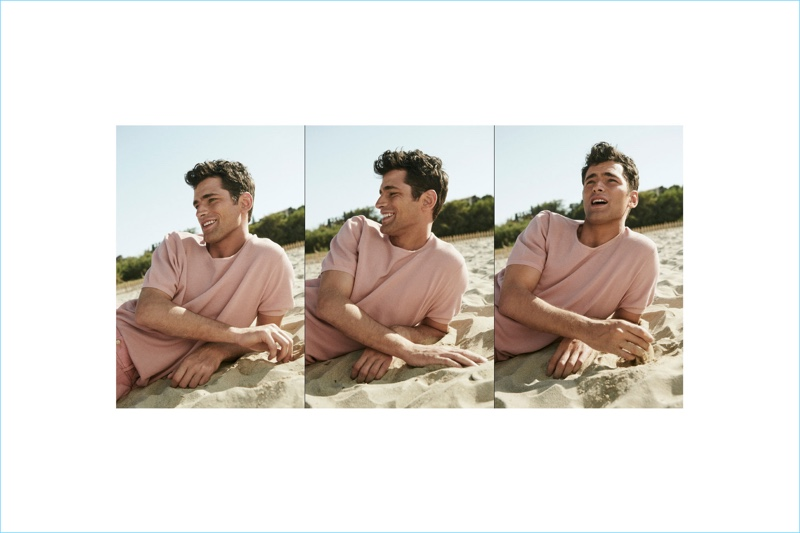 Sean O'Pry dons a short-sleeve sweater with matching Bermuda shorts.