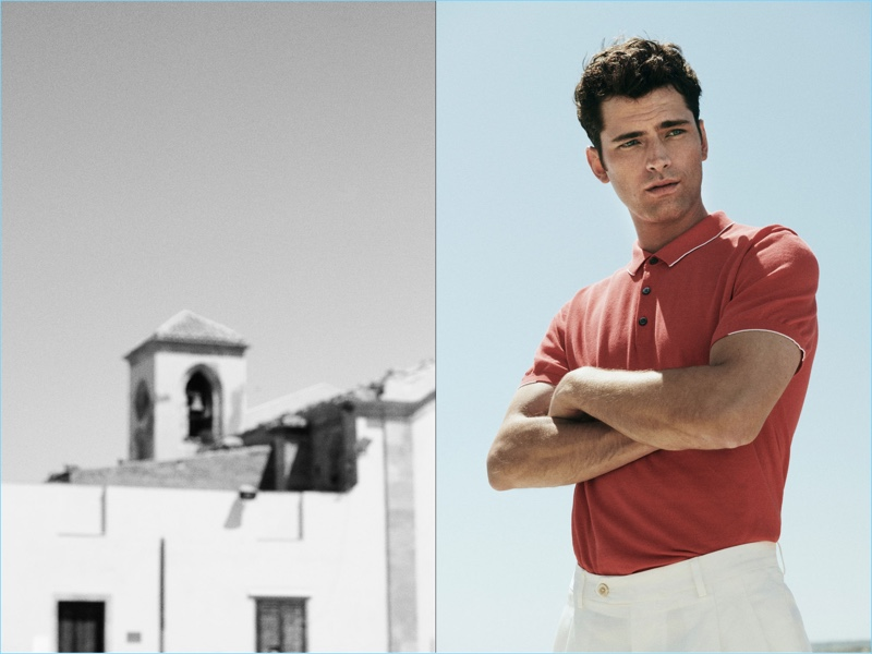 Model Sean O'Pry sports a Massimo Dutti polo with chinos.