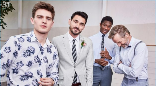Soft blues hues and floral prints come together from LE 31. Models Bo Develius, Arthur Kulkov, Hamid Onifade, and Rainer Andreesen don smart tailored pieces for this year's wedding season. Arthur is dashing in a grey Bosco chambray cotton-linen suit.